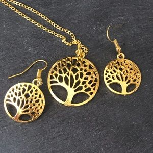 Tree of life necklace earrings set